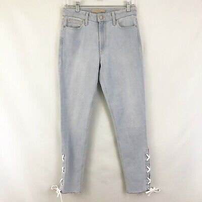 Joes Charlie High Rise Skinny Lace Up Ankle Jeans Sz 26 Hillary Wash