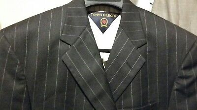 TOMMY HILFIGER 3BTN Men's Black Striped Suit Blazer Jacket Size 40R 100% Wool