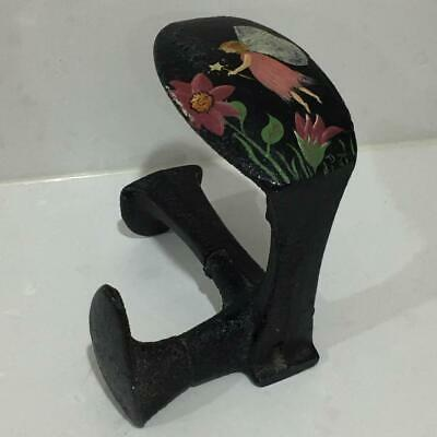 Antique Cast Iron shoe Makers Anvil Door Stop Hand Painted Fairy Wand Signed