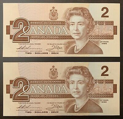 1986 - 2 Consecutive Canadian Two Dollar 2$ Banknote, Bank Of Canada