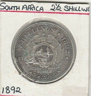 1892 South Africa 2 1/2 Shillings  Silver Coin