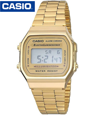 Casio A168W Vintage Retro Digital Watch Stainless Steel Gold A168 A168-W-G-9