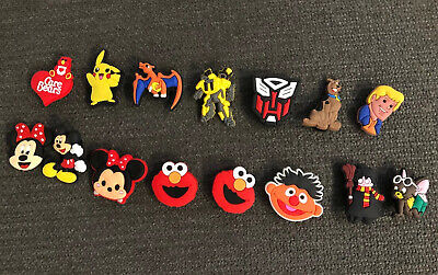 15 Jibbitz SHOE CHARMS For CROC SHOES, Mickey, Elmo Pikachu, Transformers, Rare!