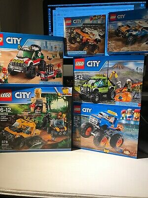 Lego Monster Truck Lot X6 Sets 9 Minifigs 60121 Volcano Jungle Stunt 60159 60180