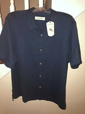 NWT Tommy Bahama Men's Navy Button Down Camp Shirt Solid $125 Sz XL