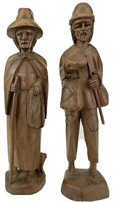 Set of 2 Old Man & Woman Hand Carved Wood Figurines/Statues-SHIP REFUND & SALE!