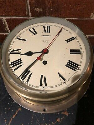 Maritime Antique Brass Ship Clock By Smith Astral Winding 8 Inch Face!!