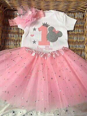 Baby girl birthday outfit with matching pyjamas pink princess crown tiara set