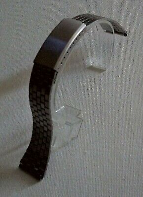 NOS -18mm Brushed Stainless Steel One Piece Bracelet Watch Strap Band