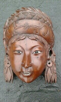 Carved Wood Hanging Mask Vintage Asian Face Inlaid Teeth Glass Eyes