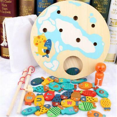 Magnetic Wooden Fishing Game Toy Alphabet Fish Catching Counting Board Games Toy