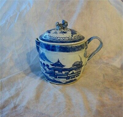 1790 Antique Chinese Canton Blue & white Porcelain Cider Jug Qianlong  Export