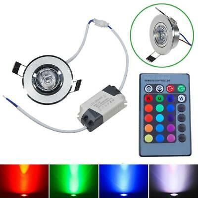 3W RGB LED Recessed Ceiling Wall Light Remote Control Spotlight Downlight Lamp