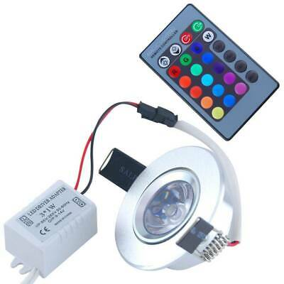 4/10x 3W RGB LED Recessed Ceiling Wall Light Remote Control Spot Downlight Lamp