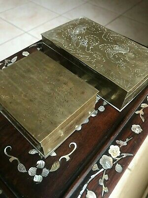 2 Vintage Chinese Brass Cigarette Cases Wood Lined Dragon Engraved Early 20Thc