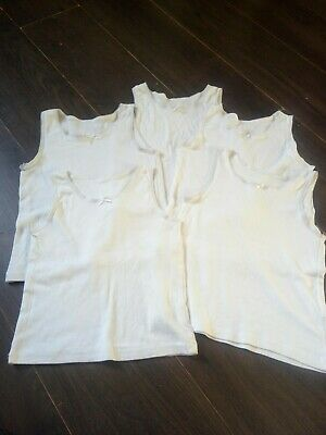 Girls Cami white school Vests bundle x5 100% cotton. 6-7 years Lace trim, bow