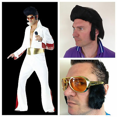 Adult 1950s 60s King of Rock N Roll Costume Jumpsuit Wig Glasses Fancy Dress