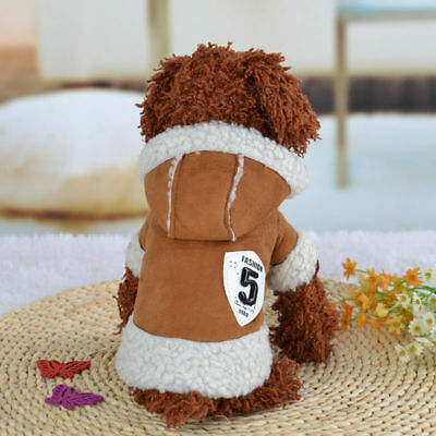 Pet Dog Winter Fleece Hoodie Jacket Clothes Puppy Cats Warm Coat Costume Apparel