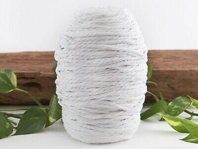 white macrame cotton cord 4mm yarn string rope twisted craft australian seller