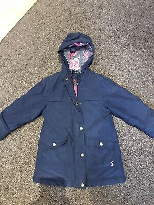 Joules girls navy blue, pink floral hooded winter coat jacket age 5years