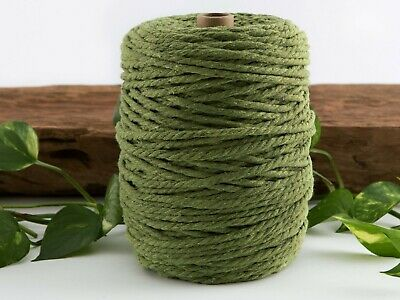 moss green macrame cotton cord 4mm yarn rope twisted craft australian seller