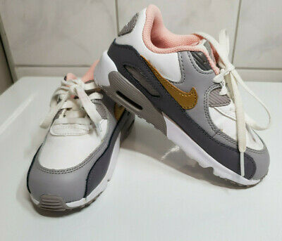 Girls Grey White Pink Nike Air Max Trainers Uk Size 9.5 Uk Childrens 16Cm Kids
