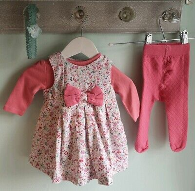 Baby Girls Pretty Floral Cord Dress Tights Outfit By Mothercare Size 0-3 Months