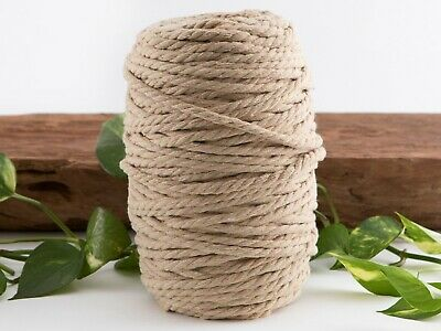 5mm tan macrame rope coloured 3ply cotton cord string twisted australia natural