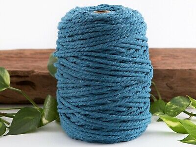 5mm peacock blue macrame rope coloured cotton cord string twisted australia