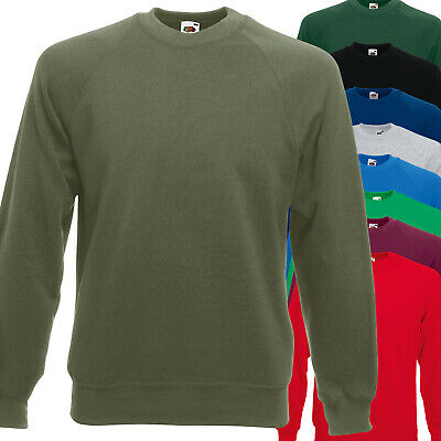 Da Uomo//Donna FRUIT OF THE LOOM classico Raglan Plain Felpa-Blu Navy