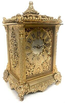 Stunning Anglo Indian / Chinoiserie Style Gilt Carriage Clock Elephant Head Feet