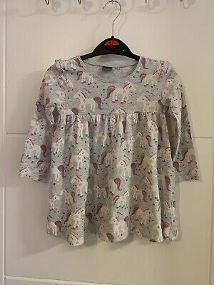 Girls Grey Unicorn Print Long Sleeve Dress From Next Age 18-24 Months