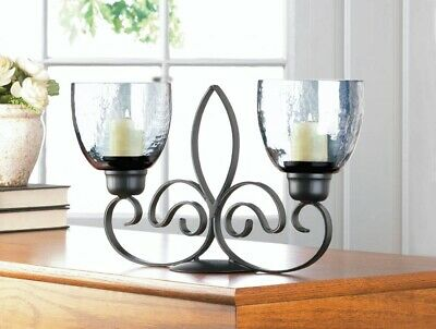 Black Iron Fleur De Lis Candle Stand with Two Smoked Glass Candle Cups