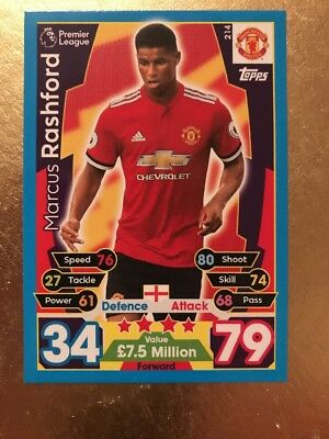 Match Attax Season 17/18 Man Utd  #214 Marcus Rashford