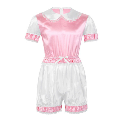 Men Silky Satin Trimmed Lace Romper Sissy Lingerie Doll Collar Short Adult Baby