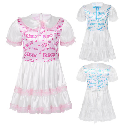 Men Silky Satin Sissy Dress Lace Trimmed Ruffled Doll Puff Sleeves Adult Baby