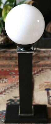 AN EARLY 20th CENTURY ART MODERNE / BAUHAUS STYLE LAMP - WHITE GLASS GLOBE