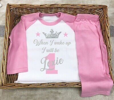 When I Wake Up Personalised Birthday 1st Pyjama Any Birthday Pink Girl 👧 Cute