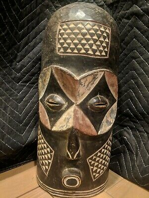 Large Bembe Mask with Intricate Pigments — Authentic Handcarved Wood African Art
