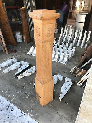 MAR Antique Oak Stripped Newell Post For Stairway 56 X 8 X 8
