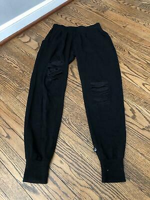 Terez 2201 Slash Leg French Terry Jogger Sweatpants Black Size XS