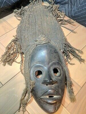 Dan Deangle Mask with Long Woven Hood — Authentic Handcarved Wood African Art