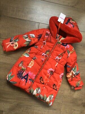 New Ted Baker Girls Red Floral Padded Coat Jacket Size 2-3 Years rrp£62
