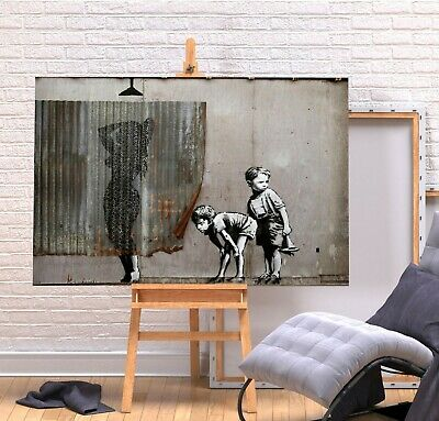 Banksy Shower Boys Peeping - Deep Framed Canvas Wall Art Picture Print- Grey