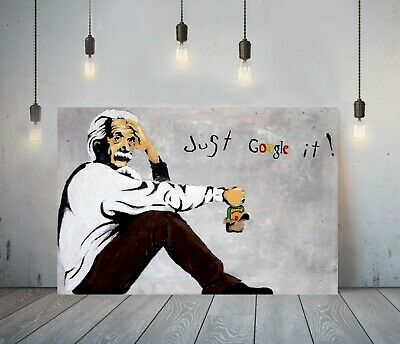 Banksy Einstein Just Google It - Deep Framed Canvas Wall Art Picture Print- Grey