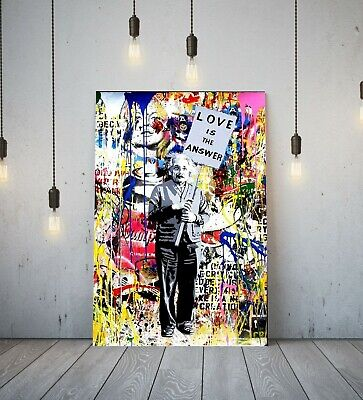 Banksy Einstein Love Is Answer - Deep Framed Canvas Wall Art Graffiti Print-