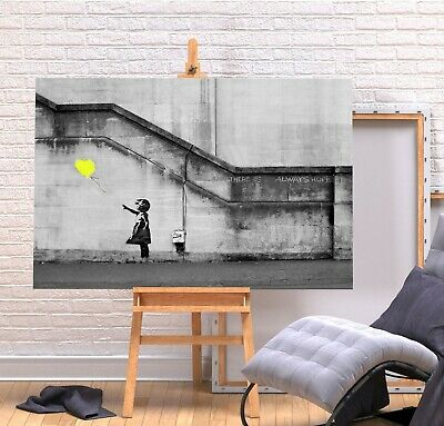 Banksy Yellow Balloon Girl - Deep Framed Canvas Wall Art Graffiti Picture Print