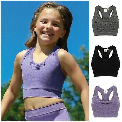 Girls Crop Top Dance Vest Sports Bra Kid Child Fitness Training Gym Yoga Running