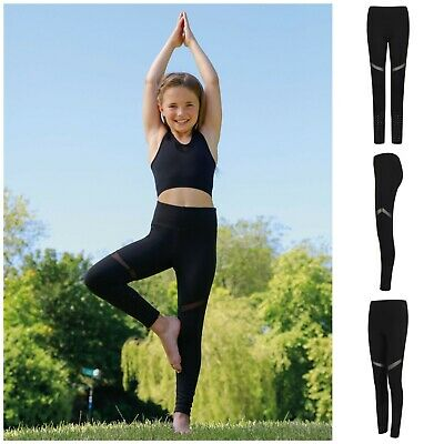 Girls Black Panelled Dance Sports Leggings Kid Child Fitness Training Running PE