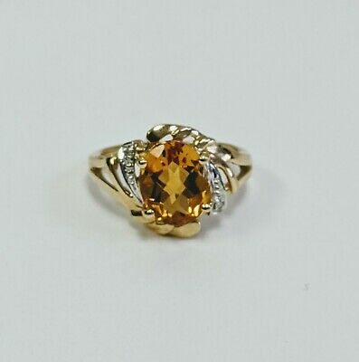 STS SOLID 10KT Yellow Gold 2.75 TCW Oval Citrine & Natural Diamond Ring
